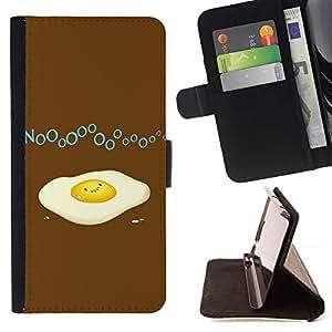 For Samsung Galaxy Note 4 IV Case , Huevo Roto divertido- la tarjeta de Crédito Slots PU Funda de cuero Monedero caso cubierta de piel