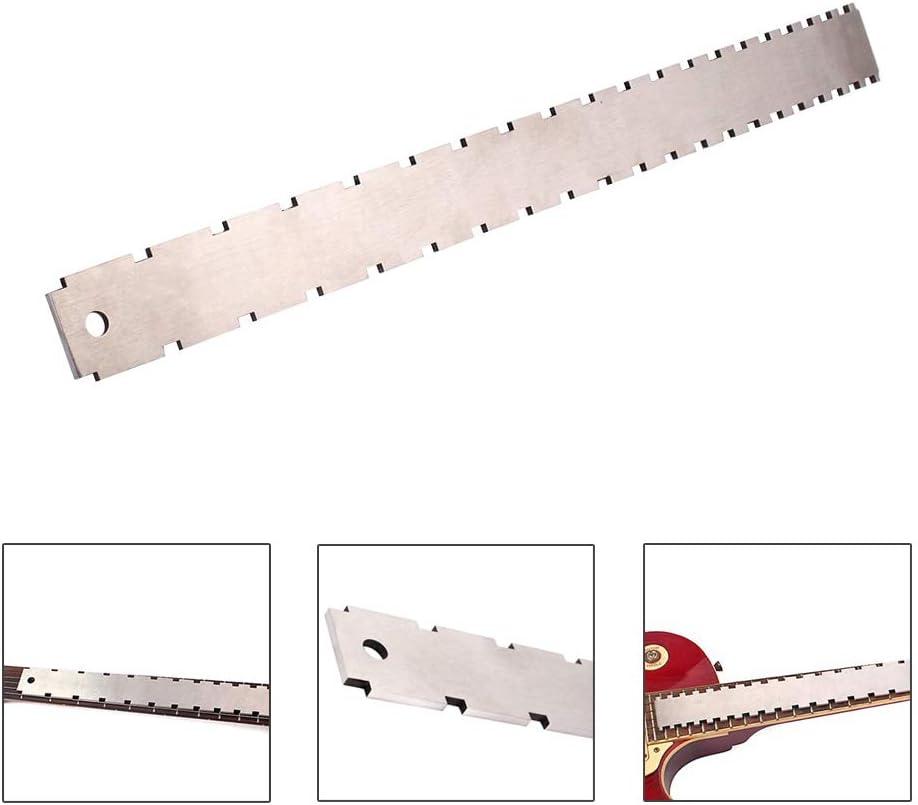 Anguila Guitarra Cuello Muesca Borde recto Herramienta de medición de doble escala Breeezie Guitarra Traste Regla para Luthiers