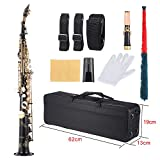 ammoon B Flat Soprano Saxophone Brass Straight Sax Bb B Flat Natural Shell Key Carve Pattern with Carrying Case Gloves Cleaning Cloth Straps Grease Cleaning Rod