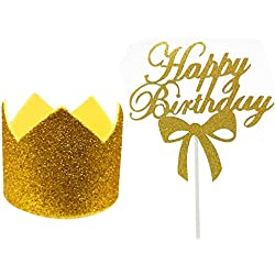 Gold Party Hats and Cake Toppers for Kids Birthday Baby Shower Theme Party Supplies Decoration - 2PCS