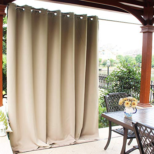 NICETOWN Pergola Outdoor Drape and Curtain – Front Porch Decor Thermal Insulated Rust Proof Silver Ring Top Room Darkening Blind for Outdoor Entertaining Space (Biscotti Beige, 1 Panel, 100 x 95 Inch)