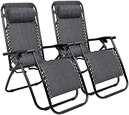 Tremendous Zero Gravity Chairs Adjustable Outdoor Folding Lounge Patio Chairs With Pillow Recliners For Poolside Beach Yard Set Of 2 Grey Ocoug Best Dining Table And Chair Ideas Images Ocougorg