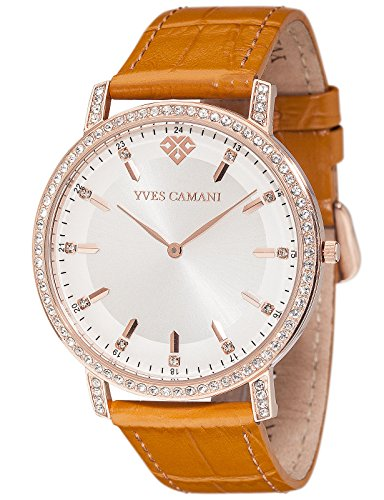 Yves Camani Mayenne Women's Wrist Watch Quartz Analog Stainless Steel Rosegold Silver Dial Leather Strap