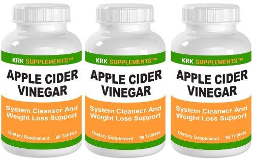 3 Bottles Apple Cider Vinegar 600mg Per Serving 270 Total Tablets KRK Supplements Review