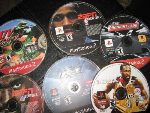 PLAYSTATION 2; 6 DVD ROM VARIOUS TOPICS: ESPN FOOTBALL; WORLD GRAND PRIX; ATV OFFROAD FURY; ESPN BASKETBALL; NBA LIVE 08; MIDNIGHT CLUB STREET RACING;