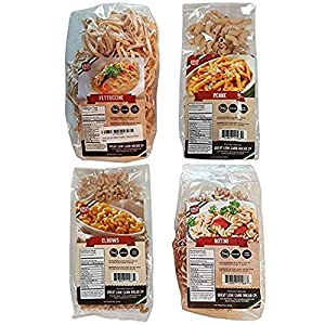Well-Being-Matters 513EdehetzL._SS300_ 4 Pack Assortment Low Carb Pasta, Fettuccine, Rotini, Penne, and Elbows, Great Low Carb Bread Company