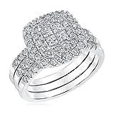 Princess Cut Diamond Quad Top Double Band Engagement Ring Set - Size 7