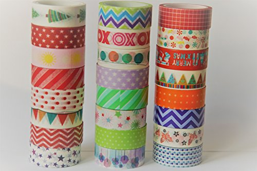 Pattern Washi Paper - Decorative tape,Decorative tape for kids, washi masking tape, washi Paper Tape With Colorful Designs and Patterns , Decorating, Scrapbooking-DIY Crafts and Gift Wrapping