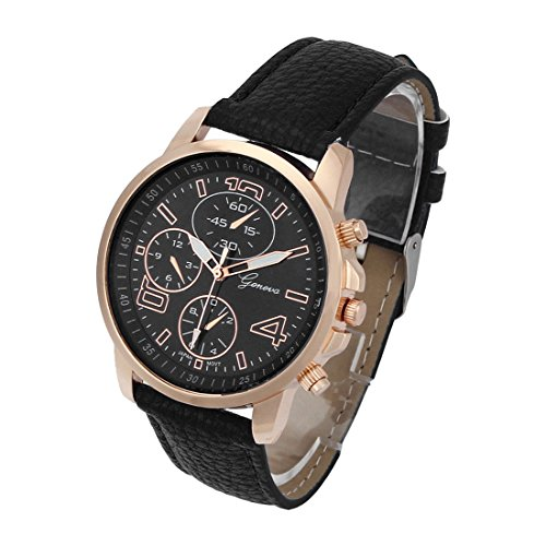 Geneva Black Leather Watch - 2