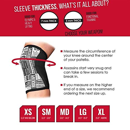 Rocktape Knee Sleeves, 2-Pack, Competition Grade, 5mm Thickness, Compression Neoprene, Extra Long for VMO Support, Assassins, Assassins - Black, 5mm/Small by Rocktape (Image #2)