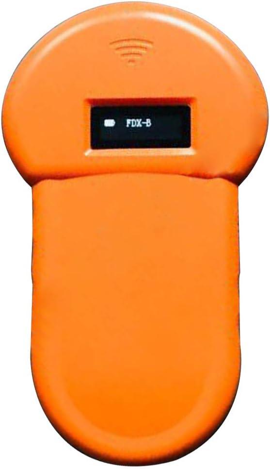 Lector de microchip para mascotas Escáner para gatos Caballo Mascota Perro Portátil Pantalla OLED portátil Zumbador incorporado de baja frecuencia Rastreo en el hogar Escáner de microchip, naranja