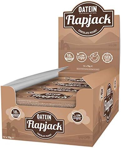 Oatein Niedriger Zucker Protein Flapjack, Schokolade Erdnuss - 12 x 70g