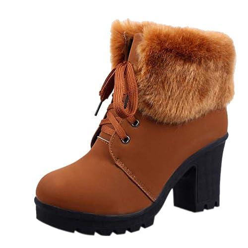 Logobeing Botas de Mujer Invierno Botines Zapatos Tacón Botas de Nieve para Mujer Botas de Tobillo