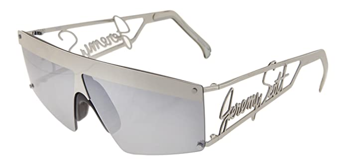 4d0d21b13afe Image Unavailable. Image not available for. Color  LINDA FARROW Jeremy Scott  SIGNATURE Visor Silver Mirrored Sunglasses JS16
