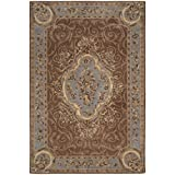 Safavieh Empire Collection EM409A Handmade Traditional European Blue and Brown Premium Wool Area Rug (4′ x 6′)