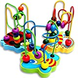 Kids Baby Colorful Wooden Mini Around Beads Educational Game Toy by Ugood