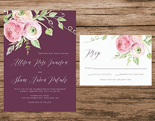 Marsala and Blush Wedding Invitation, Floral Wedding Invitation, Burgundy and Blush Wedding Invitation by Alexa Nelson Prints
