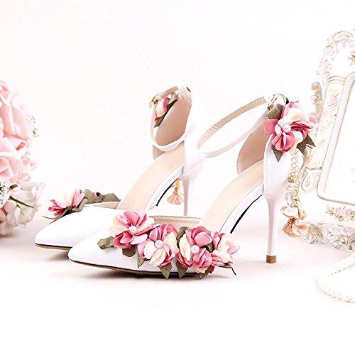 XIE Mujeres de la boda de zapatos / dama de honor y la novia / Flor de satén / tacón de aguja / punta dedo del pie / Sandalias de tacón alto / Anklet Blanco