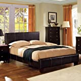 #3: Uptown Contemporary Style Espresso Leatherette Finish Bed Frame Set