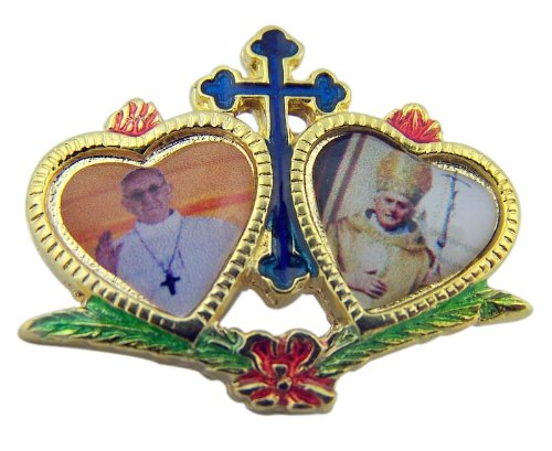 Gold Tone Heart Lapel Pin Pope Francis with Pope Benedict (Gold Plate Budded Cross)
