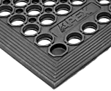 "NoTrax T30 General Purpose Rubber Competitor Safety/Anti-Fatigue Mat, for Wet Areas, 3' Width x 5' Length x 1/2"" Thickness, Black"