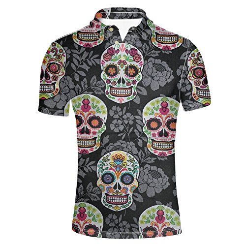 HUGS IDEA Sugar Floral Skull Print Men's T-Shirt Classic Pique Polos Shirt Vintage Short Sleeve 6 Button Polosshirt