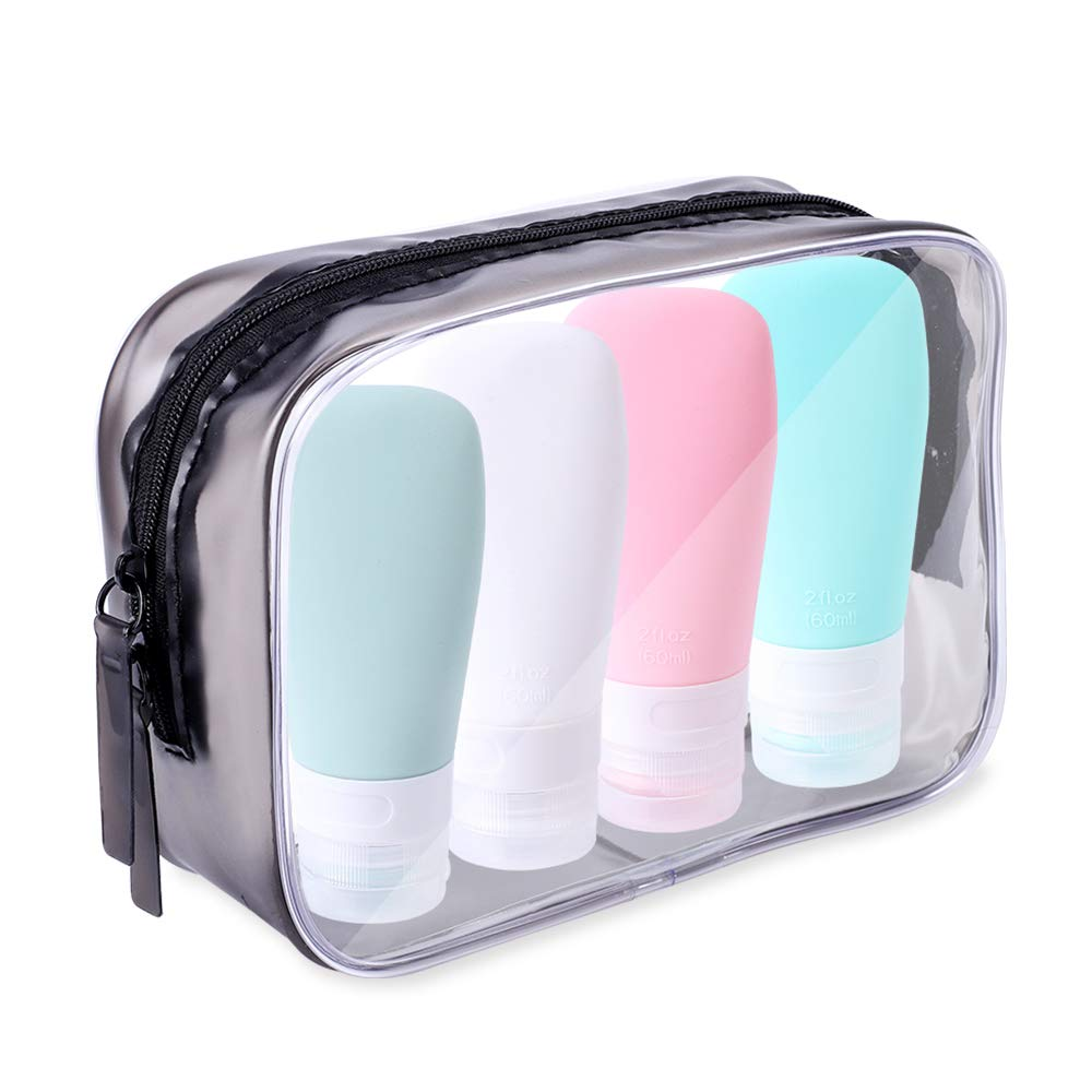 Portable Travel Bottles, INSFIT TSA Carry On Approved Toiletries Containers, 2 Ounce Leak Proof Squeezable Silicone Tubes, Refillable Travel Accessories for Shampoo Body Wash Liquids 4 Pack
