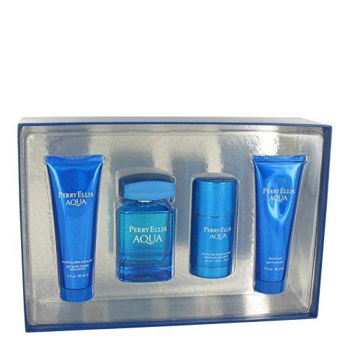 Perry Ellis Aqua by Perry Ellis Gift Set -- 3.4 oz Eau De Toilette Spray + 2.75 oz Deodorant Stick + 3 oz After Shave Gel + 3 oz Shower Gel (Men)