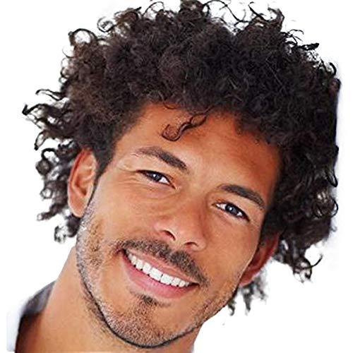 BERON Short Men Curly Kinky Wigs Dark Brown Curly Men Boy Wigs Come with Wig Cap (Short Afro Wig Men)