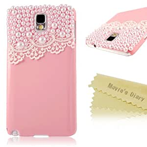 Mavis's Diary 3D Handmade Fashion Lace Pearl Design Pink Hard Cover Case for Samsung Galaxy Note 3 Note III N9000 N9005 N9006 with Soft Clean Cloth