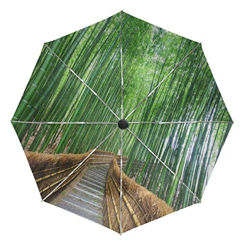 - Full-Automatic Umbrella Bamboo Forest Chinese Landscape Nature Self Opening Folding UV Protection Windproof
