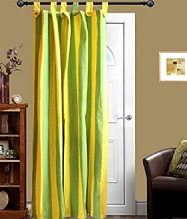 tidy Cotton Loop Door Curtain, 6.5x4 Ft, Green and Yellow(Pack of 1pcs)