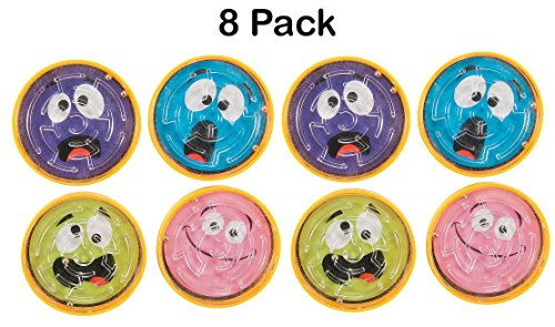 8 Pack Expression Face Pill Puzzle Mazes, 2 inches, Different Face Expressions, in Assorted Colors, for Kids, Boys, Girls - Great Party Favors, Fun, Game, Toy, Gift, Prize - by Kidsco