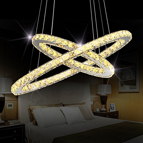 "Sefinn Four Crystal Chandeliers Modern LED Ceiling Light Fixtures Flush Mount Pendant Lights Adjustable for Dining Room Living Room Kitchen Hallway (Oval 2 Rings(11.8"" + 19.7"") Warm White) For Sale"