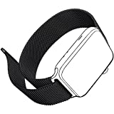 FARSIC Wrist Band for 42mm - Magnet Lock, No Buckle Needed, Soft, Smooth - Stainless Steel Link Bracelet Strap Replacement Wrist Band - Black
