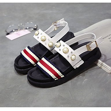 Imitation UK4 White US6 Comfort Women'S Pu Heel RTRY Pearl Casual Black 7 5 Flat Sandals Summer Flat 5 EU37 CN37 5 xYFqOwOT