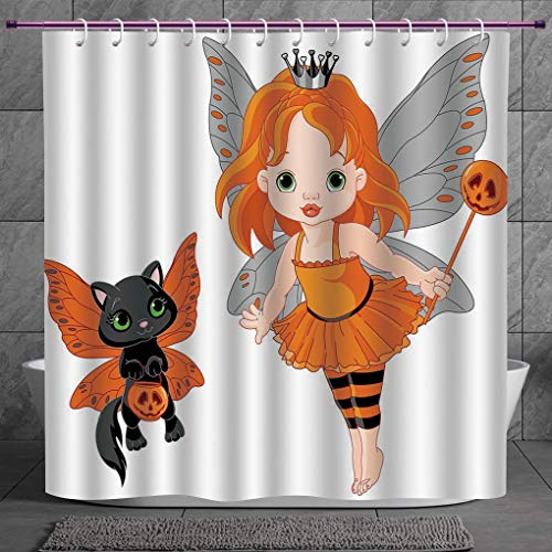 SCOCICI Decorative Shower Curtain 2.0 [ Halloween,Halloween Baby Fairy and Her Cat in Costumes Butterflies Girls Kids Room Decor Decorative,Multicolor ] Bathroom Accessories with Hooks
