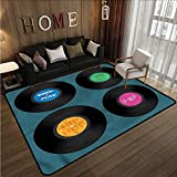 Indoor/Outdoor Rug 90s Music Vinyl Discs LP Rock Pop Anti-Slip Doormat Footpad Machine