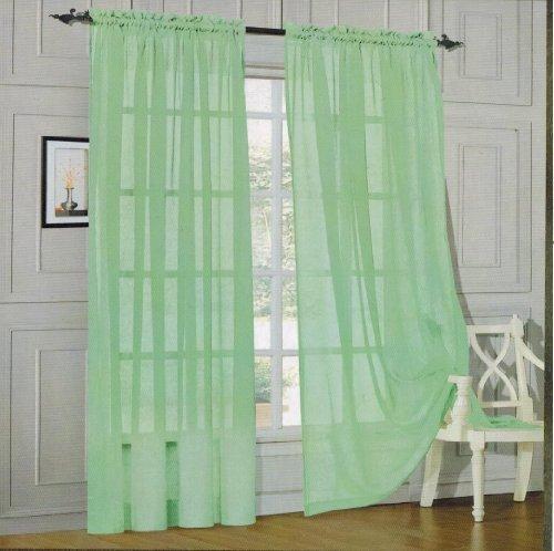 Elegance Linen Window Curtain - Sheer Panel with Rod Pocket - 60-inch Width X 84-inch Length - Light Green Aqua