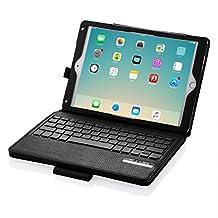 """iPad Keyboard Case, Poweradd Bluetooth iPad Keyboard Folio Smart Case w/ Removable Wireless Keyboard for Apple iPad Air 1 / Air 2 / iPad Pro 9.7 Inch & iPad 9.7"""" 2017, iPad 5/6"""