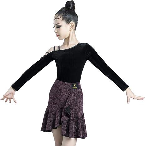 ZYLL Vestido de Split Danza niñas Falda de Baile Latino Salsa del ...