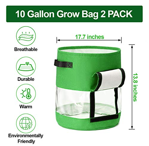 CAVEEN Potato Grow Bags, 2 Pack 10 Gallon Plant Growing Bags with Flap and Handles for Potato Tomato Carrot Onion
