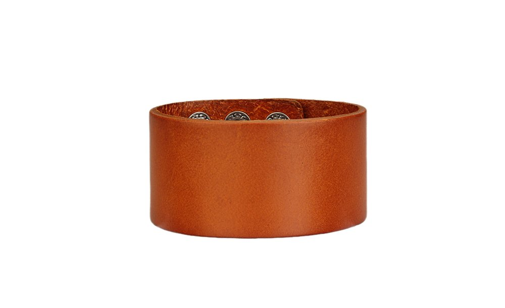 True Heart Style Genuine Leather Cuff Band Snap Bracelet Wide Chunky Tan Color