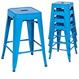 Classic Style Kitchen Dining Room Chair Stackable Backless Solid Metal Seat Set Of 4 Metal Barstools Indoor Outdoor Counter/Blue #1047