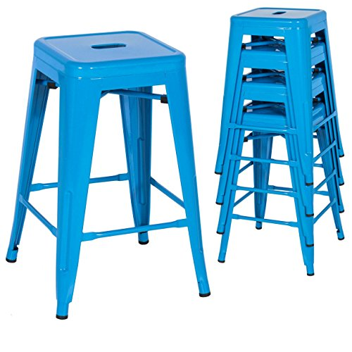 Classic Style Kitchen Dining Room Chair Stackable Backless Solid Metal Seat Set Of 4 Metal Barstools Indoor Outdoor Counter/Blue #1047 (Replacement Cushions For Outdoor Furniture Melbourne)