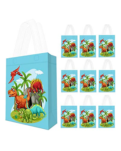 10 Pack Dinosaur Party Supplies Favor Bags - Reusable Dino Gift Tote Bags, Goodie Gift Toy Treat Bags for Kids Boys Dinosaur Theme Birthday Party, T-Rex Roar Party, Jurassic World Party Supplies