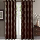 Cheap Lexington Chocolate Grommet Jacquard Window Curtains Drapes, Pair / Set of 2 Panels, 52×63 inches Each, by Royal Hotel