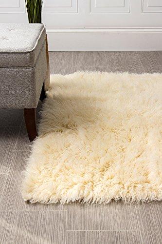 Super Area Rugs Natural Wool Flokati Furry Shag Rug, Natural 4' x 6'