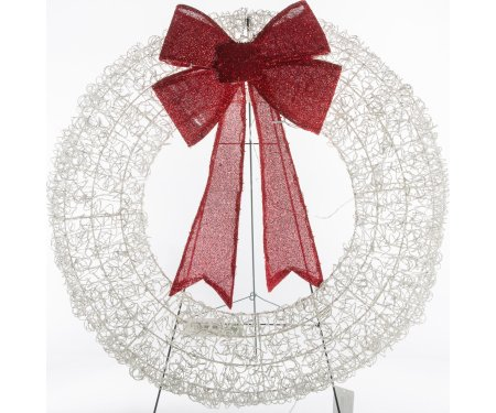 Decra Lite 36'' Giant White Wire Wreath with Red Bow