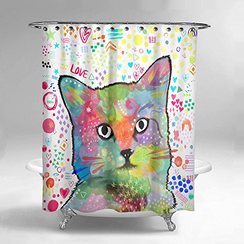 Lume.ly - Cute Colorful Kitten Kitty Cat Design Fabric Shower Curtain Set W/ 12 PREMIUM Stainless Steel Hooks Rings For Bathroom, Unique Modern Design Bright Art Decor (Black and White) (72x72 in)